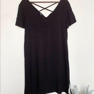 NWT CALLIOPE Criss Cross Back Black MIDI Dress